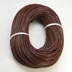 cordon de cuir de vachette , cordon en cuir de bijoux, bricolage bijoux matériau de fabrication, arrondir, teints, SaddleBrown, 2 mm(LC-2MM-02)