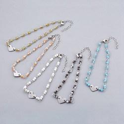 """Perles de verre de cheville de charme, avec les accessoires en métal, Rondelle et coeur, couleur mixte, 9-1/2"""" (24 cm), 4~4.5mm(AJEW-AN00235)"""