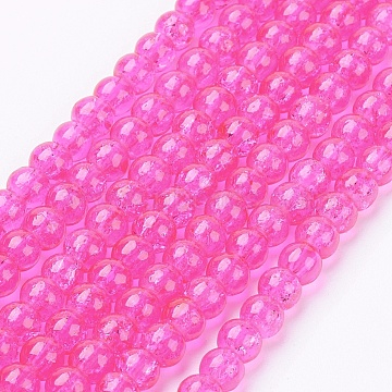 Crackle Glass Beads Strands, Round, Fuchsia, 4mm, Hole: 1.1~1.3mm; about 200pcs/strand, 31.4 inches(X-CCG-Q001-4mm-08)
