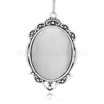 Antique Silver Plated Alloy Cat Eye Oval Big Pendants, LightGrey, 61x39x8mm, Hole: 3mm(CE-N005-02)