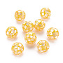 Resin Beads, with Natural Yellow Shell, Round, Yellow, 12.5mm, Hole: 1mm