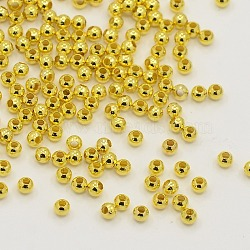 Brass Round Spacer Beads, Seamless, Golden, 2.4mm, Hole: 0.8mm; about 517pcs/10g(X-J0K2D012)