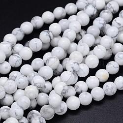 """Brins de perles rondes de howlite naturelle, 6mm, Trou: 1mm, Environ 65 pcs/chapelet, 15.3""""(G-F222-14-6mm)"""