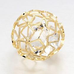 Hollow Round Brass Filigree Beads, with Clear Glass Diamond Beads inside, Light Gold, 28mm(KK-J263-02G)