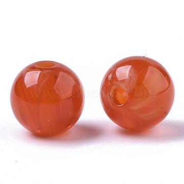 Acrylic Beads, Imitation Beeswax, Round, FireBrick, 10mm, Hole: 1.8mm(X-OACR-S037-002F)