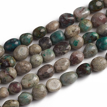 Natural Chrysocolla Beads Strands, Nuggets, 10~15x7.5~11.5x7.5~12.5mm, Hole: 1mm, about 36pcs/Strand, 15.67 inches(39.8 cm)(X-G-D0002-D70)