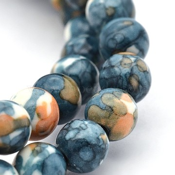 8mm SteelBlue Round Ocean White Jade Beads