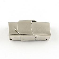 Surface lisse fermoirs de bande de montre 201 en acier inoxydable, couleur inoxydable, 25x9x6mm, Trou: 6x3mm(STAS-R063-64)
