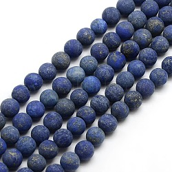 Natural Frosted Lapis Lazuli Round Bead Strands, Dyed & Heated, 6mm, Hole: 1mm; about 63~65pcs/strand, 14.9~15.6