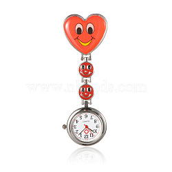 Montres alliage tableau coeur de l'infirmière de poche, avec une bande en alliage de montre de l'émail et clips de fer, rouge, 87 mm; cadran montre: 29x7.5 mm; boitier montre: 20.5 mm; coeur: 31x30x16 mm(WACH-N007-02B)