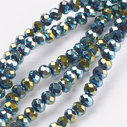 Electroplate Glass Bead Strands, Faceted, Rondelle, Green Plated, 4x3mm, Hole: 1mm; about 140~145pcs/strand, 18.1