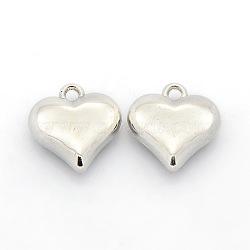Пластиковые сердечные чашки ccb, платина, 15x14x5 мм, отверстие : 2 мм(CCB-J030-64P)