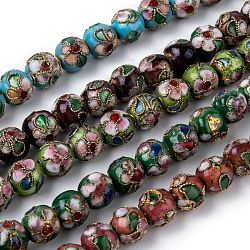 Vintage Handmade Flower Pattern Cloisonne Round Bead Strands, Mixed Color, 8mm, Hole: 1mm; about 15.7inches, 50pcs/strand(CLB-O001-M03)