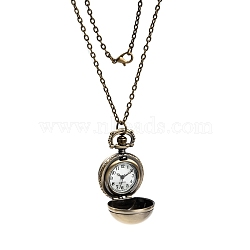 Retro Alloy Round Ball Pendant Necklace Quartz Pocket Watches, with Iron Cable Chains and Lobster Clasps, Antique Bronze, 31.5inches; Watch: 41x27x26mm(X-WACH-M034-04AB)