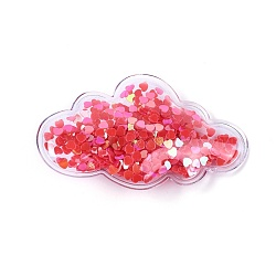 Pinces à cheveux en alligator en plastique, avec paillette et socle en fer platiné, nuage, rouge, 38~38.5x64~65x13~14mm(PHAR-L005-I02)