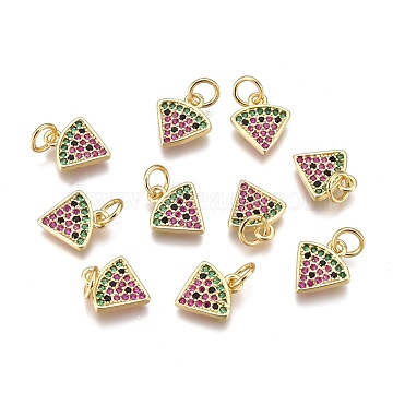 Brass Micro Pave Cubic Zirconia Charms, Long-Lasting Plated, Sector, Colorful, Golden, 11x10x1.8mm, Hole: 3mm, Jump Ring: 5x1mm(X-ZIRC-L093-26G)