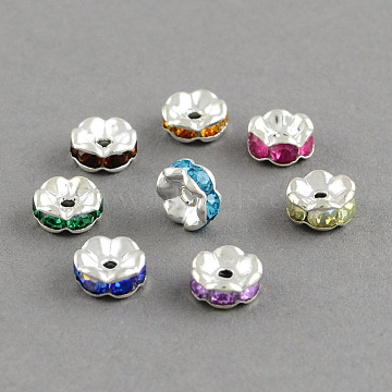 Mixed Color Flat Round Brass Spacer Beads