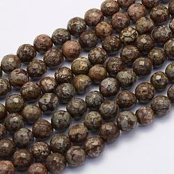"""Chapelets de perles de flocon de neige en obsidienne naturelle, rond, facette, 8~8.5mm, trou: 1mm; environ 49 pcs/chapelet, 15.7"""" (40 cm)(G-G697-F07-8mm)"""