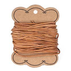 Cordon en cuir de vachette, cordon de bijoux en cuir , Pérou, taille: environ 2mm de diamètre