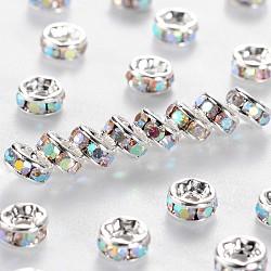 teneur en laiton un strass perles d'espacement, plaqué argent, sans nickel, cristal ab, 4x2 mm, trou: 0.8 mm(RSB034NF-02)