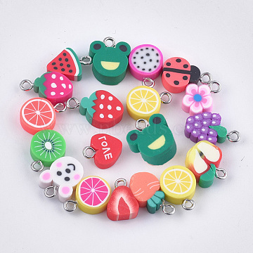 Handmade Polymer Clay Pendants, with Iron Findings, Mixed Shapes, Platinum, Mixed Color, 12~17x8.5~11x4~5mm, Hole: 1.8mm(X-CLAY-S091-104)