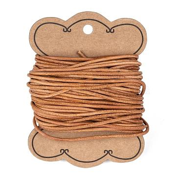 Cowhide Leather Cord, Leather Jewelry Cord, Peru, Size: about 2mm in diameter(X-WL-H007-1)