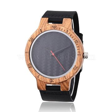 Wood Wristwatches, Men Electronic Watch, with Leather Watchbands and Alloy Finding, Black, 260x23x2mm(WACH-P010-20)