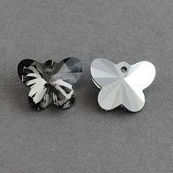 Papillon électrolytique pendentifs en verre, fond argenté, facette, grises , 12x15x7mm, Trou: 1mm(X-EGLA-R083-02)