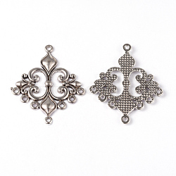 Liens de composants en alliage losange lustre de style tibétain, sans plomb et sans cadmium, couleur argent antique, 36x30x2mm, Trou: 1.5mm(X-EA9734Y)