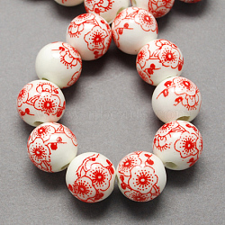 Handmade Printed Porcelain Beads, Round, Red, 12mm, Hole: 2mm(X-PORC-Q202-12mm-1)