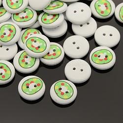 Boutons de couture en bois imprimés avec un nombre plat et rond avec 2 trou, teint, num. 0, 13x4mm, Trou: 1mm(X-BUTT-M002-13mm-0)