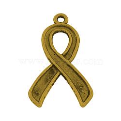 Ruban de conscience style tibétain supports pendentif en alliage d'émail, sans plomb, Or antique, 31x17x1.5mm, Trou: 2mm(X-TIBEP-23410-AG-LF)