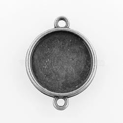 плоские круглые параметров соединителя сплав кабошон, чашки безель с краем, свинца, Старинное серебро, лоток: 16 мм; 25x19x2 мм, отверстия: 2 mm(X-PALLOY-N0087-03AS-LF)
