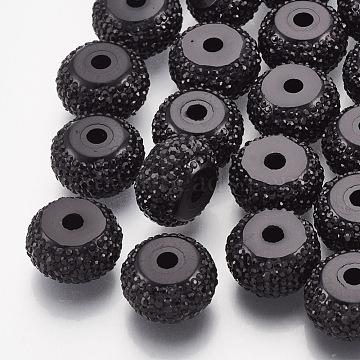 14mm Black Rondelle Resin+Rhinestone Beads