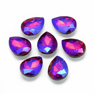 Pointed Back Glass Rhinestone Cabochons, Back Plated, Faceted, AB Color Plated, Teardrop, Red, 29.5x20x8mm(X-RGLA-T017-20x30mm-03)