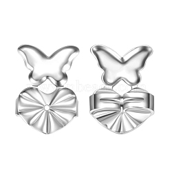 Environmental Electroplate Brass Ear Nuts, Earring Backs, Butterfly with Heart, Silver Color Plated, 14x10mm(EJEW-AA00266-46S)