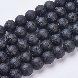 """Chapelets de perles de lave naturelle, teint, rond, 10~10.5mm, trou: 1mm; environ 38 pcs/chapelet, 14.5"""" (37 cm)(G-J346-37-10mm)"""