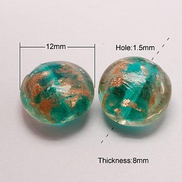 Handmade Gold Sand Lampwork Beads, Flat Round, Dark Cyan, 12x8mm, Hole: 1.5mm(X-LAMP-S035-12mm-10)