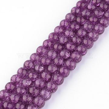Synthetic Crackle Quartz Beads Strands, Round, Dyed, Purple, 10mm, Hole: 1mm; about 40pcs/strand, 15.7 inches(GLAA-S134-10mm-16)