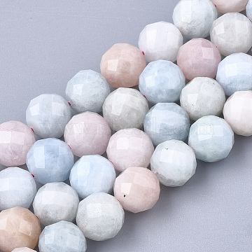 Natural Morganite Beads Strands, Faceted, Round, 9.5~10x10mm, Hole: 1mm; about 19pcs/strand, 7.48''(G-S345-10mm-012)