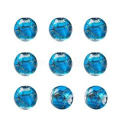 Perles vernissées de sable d'or manuelles , rond, dodgerblue, 11.5~12mm, Trou: 1.2~2mm(LAMP-TAC0001-01E)