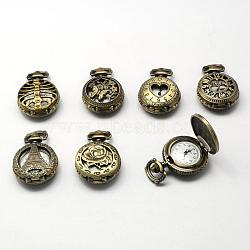 Vintage alliage de zinc têtes de montres à quartz creux, pour création de montre de poche collier pendentif , plat rond, mixedstyle, bronze antique, 36x27x12mm, Trou: 10x1mm(WACH-R008-M)