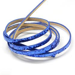 Cordons en similicuir avec perles de paillette, bleu, 5x2 mm; environ 1.2 m / brin(X-LC-R010-13B)