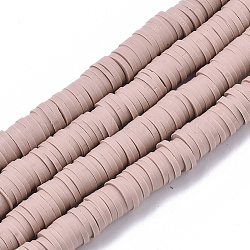 Handmade Polymer Clay Bead Strands, Heishi Beads, for DIY Jewelry Crafts Supplies, Disc/Flat Round, Rosy Brown, 6x0.5~1mm, Hole: 2mm; about 320~450pcs/strand, 15.35 inches~16.92 inches(39~43cm)(X-CLAY-S094-6mm-A01)