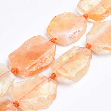 Natural Citrine Beads Strands, Flat Slab Beads, Nuggets, 28~60x15~42x6~8mm, Hole: 3mm; about 8~12pcs/strand, 16.3 inches(G-S268-07)
