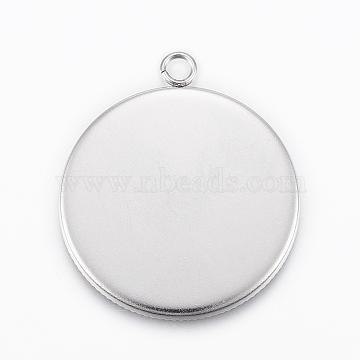 304 Stainless Steel Pendant Cabochon Settings, Flat Round, Stainless Steel Color, Tray: 30mm, 36x31x2mm, Hole: 3mm(X-STAS-E146-18P-30mm)