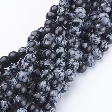 Natural Snowflake Obsidian Beads Strands, Round, 8mm(X-GSR009)