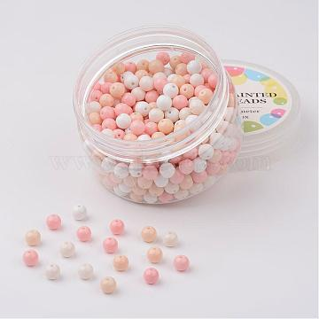 300 x Frosted Glass Round Beads 6mm Orchid