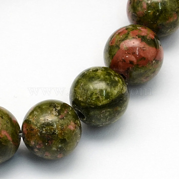 Natural Unakite Round Beads Strands, 4.5mm, Hole: 1mm; about 96pcs/strand, 15.5inches(G-S175-4mm)