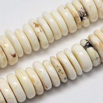 Natural Magnesite Beads Strands, Heishi Beads, Flat Round/Disc, Creamy White, 9~12x2~4mm, Hole: 1mm, about 150pcs/strand, 16.5 inches(X-G-M138-43)